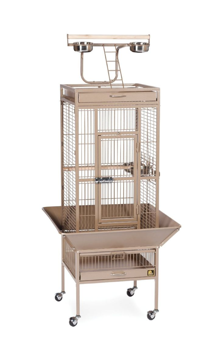 $389.99. The Wrought Iron Select Aviary in Coco Brown offers quality craftsmanship at an affordable cost. Constructed of wrought iron with a cage top play stand to keep your bird entertained and content, the heavy-duty push button lock keeps your bird securely inside its aviary when playtime is over.