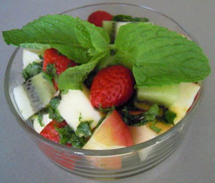 Fruit salad with mint syrup.