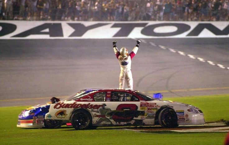 Dale Jr winning  in 2001 after father's death    At Daytona