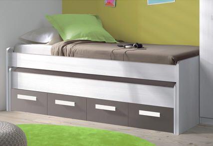 lit double sommier 90 x 200 cm nathan blanc gris basalt prix promo la maison de valerie 246. Black Bedroom Furniture Sets. Home Design Ideas
