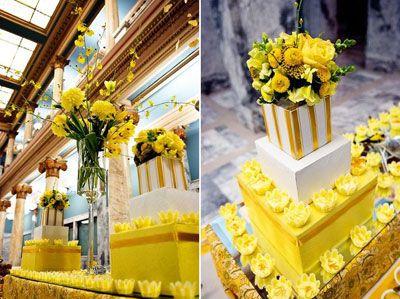 Gateau jaune mariage , deco de gateau mariage jaune , deco gateau ...