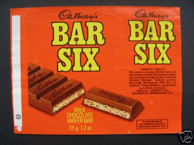 Cadbury's Bar Six wrapper. This was like a Kit Kat but with horizontal fingers instead. #cadbury's #chocolate #barsix #sweets #1970s