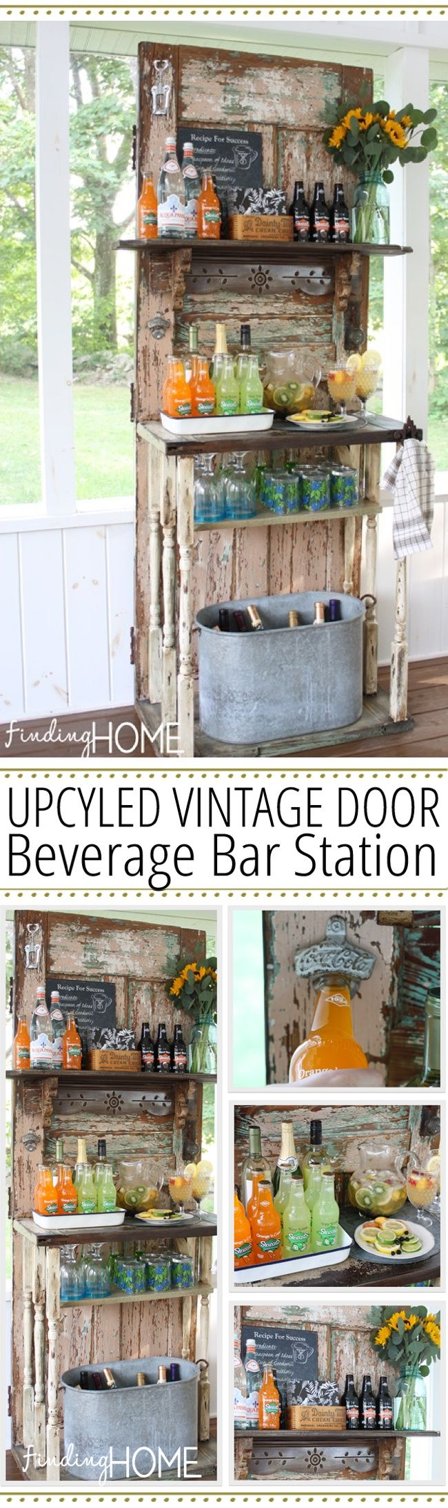 Upcycled Vintage Door Beverage Bar Station