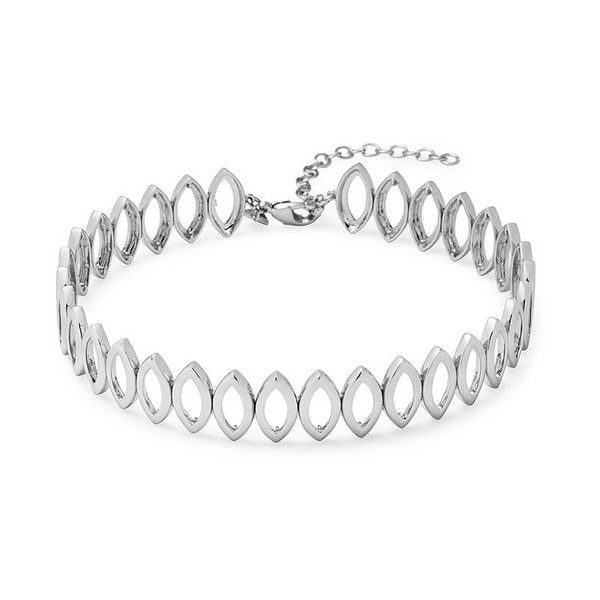 Rebecca Minkoff Navette Metal Choker (€61) ❤ liked on Polyvore featuring jewelry, necklaces, silver, metal necklace, metal choker necklace, rebecca minkoff necklace, metal jewelry and metal choker