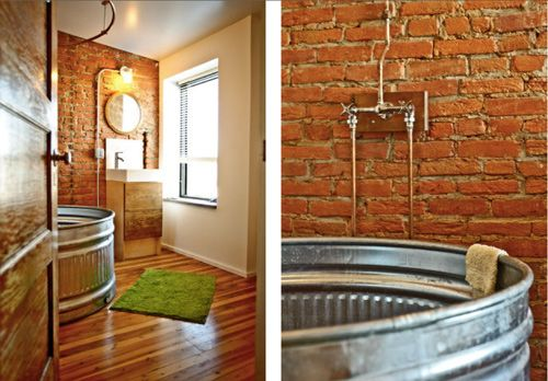Love this galvanized steel tub. This entire house done on a budget, from studs to finish, 85K. Can be found on Design Sponge.