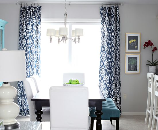 Gray walls with navy curtains!!  IHeart Organizing: Hooked on Navy!