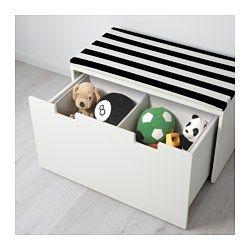 IKEA - STUVA, Bank met bergruimte, wit/wit, , In een lage opberger kunnen kinderen zelf hun spullen pakken en weer opruimen.Staat door de meegeleverde verstelbare doppen ook stabiel op ongelijke vloeren.