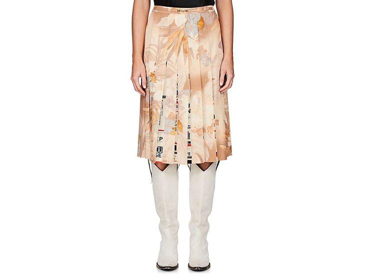 MAISON MARGIELA FLORAL & TICKET-PRINT PLEATED SKIRT. #maisonmargiela #cloth #