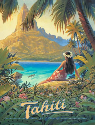 Stretched Canvas Vintage Retro Tahiti Travel Poster: