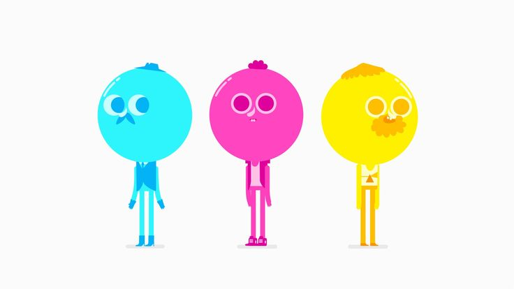 CMYK Cute one-minute animation shows the new inks created when they interact with each other.