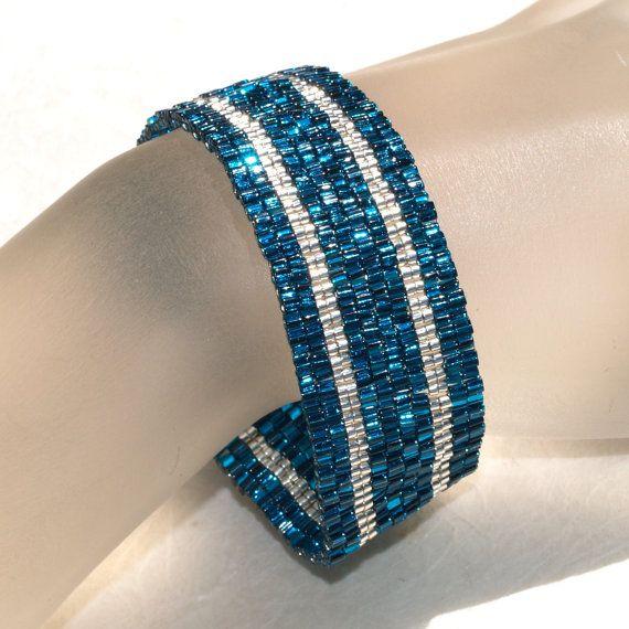Silver Stripe in Blue Zircon Band  Peyote Bracelet  by time2cre8, $33.00