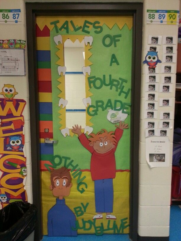 Tales of a Fourth Grade Nothing door cover. I don't have much wall or bulletin board space, but wanted to pump up my students for our new novel! They loved it! And I'm proud that I drew rhe characters! :)