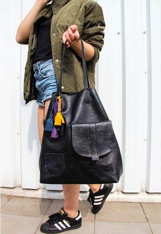 KULIK+-++Leather+Tote+bag+with+small+pockets+-+Sugar+Tote