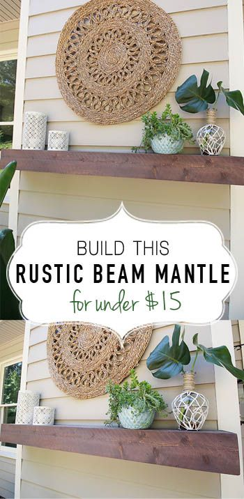 Build this Rustic Beam Mantle for under $15. Easy DIY mantle.