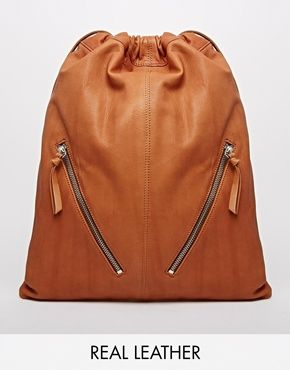 ASOS Leather Drawstring Backpack with Double Zips
