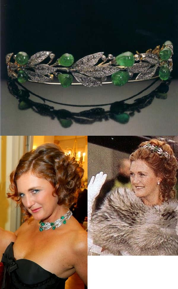 Emerald and Diamond Laurel Wreath Tiara. Wilhelm II gave it to his wife in 1905 in honor of their wedding anniversary. It was passed down to their only daughter, Princess Viktoria Luise of Prussia and Germany. It was auctioned off in the 1990s and was purchased by Baron Hans Heinrich Thyssen-Bornemisza for his daughter, Francesca. She married the heir to the Habsburg dynasty, Archduke Karl, in 1993.