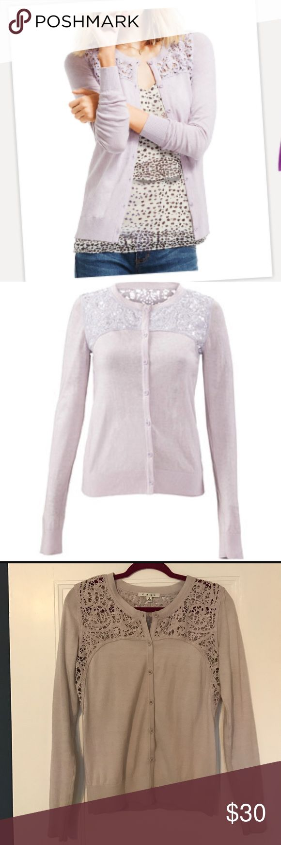 Cabi Yoke Lace Cardigan - Lilac Cardigan with lace detail in front and back - beautiful lilac color. Great pre- owned condition, only worn a few times. CAbi Sweaters Cardigans