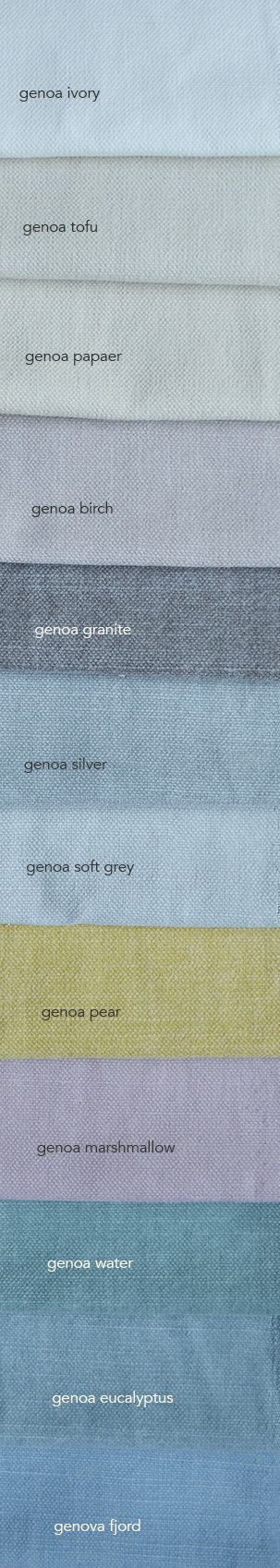 genoa is een mooi half linnen gordijnstof. Panama geweven en met een stoere wassing (stonewash) er over heen. Dus stoere vegen. Het is een mooie stoerezware stof. €34,95p/m Heel mooi voor gordijnen op maat!
