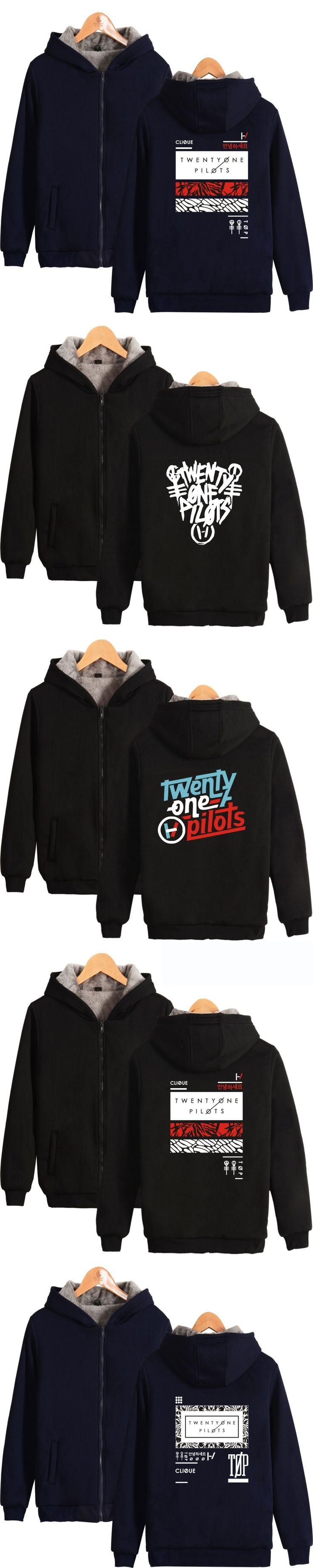21 Pilots Twenty One Pilots Hoodies Zipper With Cap Men/Women Thick Warm 21Pilots Clothing Winter Sweatshirt Zip-Up Plus Size