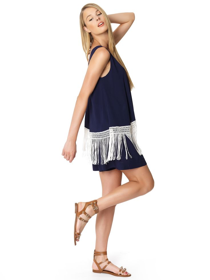 Regalinas fringe hem playsuit