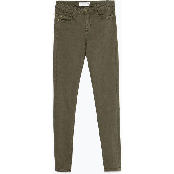 Zara Jeggings ($36) ❤ liked on Polyvore featuring pants, leggings, jeans, khaki, black leggings, khaki jeggings, black khaki pants, khaki trousers and jeggings pants