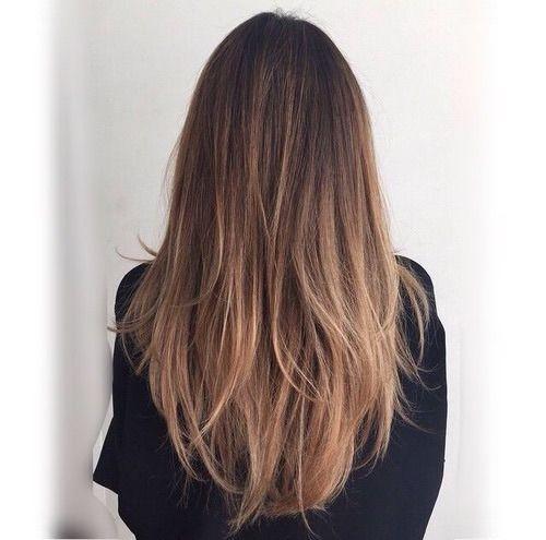 Long Straight Medium-Brown Hair with Layers and Honey-Brown Balayage