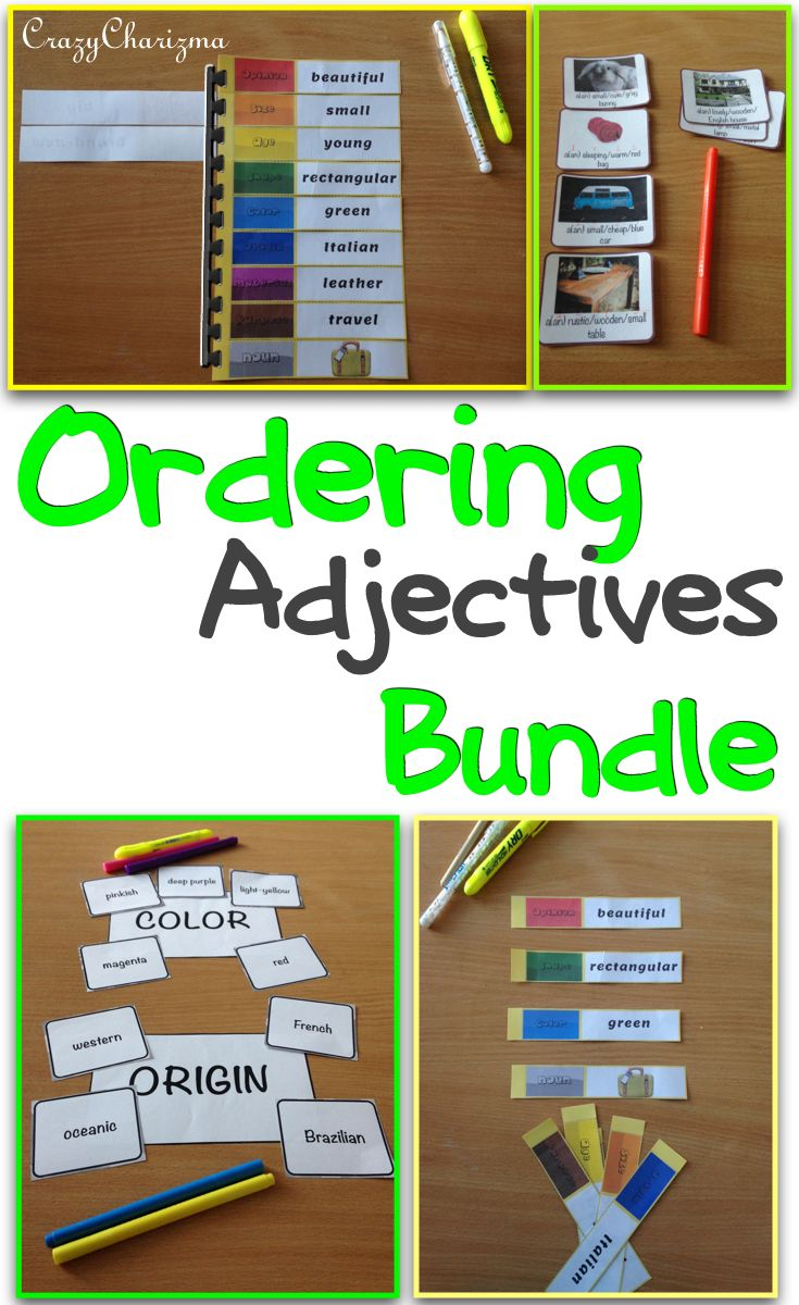 """Ordering Adjectives Bundle. The bundle contains Ordering Adjectives spiral and Ordering Adjectives cards.""""How to use"""" page and answers key are included. The cards can be used with students during ESL / EFL lessons. Also suitable for grades 4-6 during ELA lessons (L.4.1.d). $ #crazycharizma"""