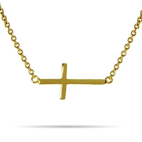 Gold Vermeil Sideways Cross Necklace ($24) ❤ liked on Polyvore featuring jewelry, necklaces, sideways cross jewelry, sideways cross necklaces, vermeil jewelry, gold vermeil necklace and vermeil necklace