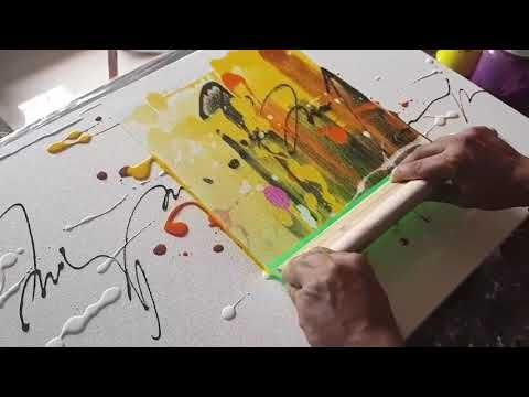 Abstract painting / Just using rubber Squeegee / Acrylics / Demonstration - YouTube