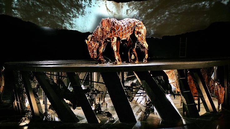 Amazing horse puppet made by the Handspring puppet company one of the primary characters in the show War Horse surrounded by human actors