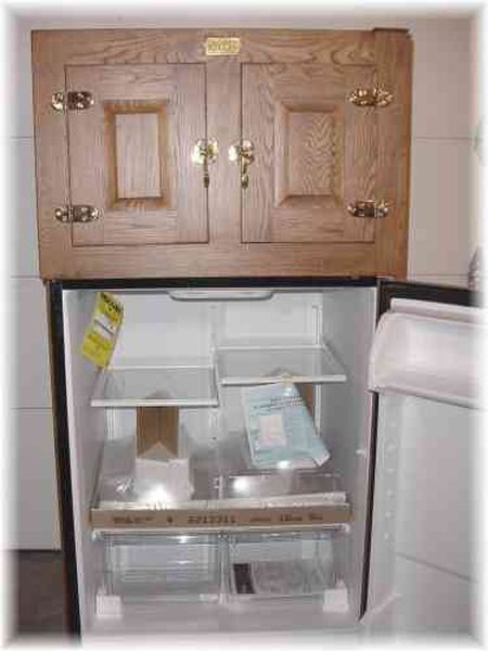 This is where Dale builds the unique antique ice box that's a modern refrigerator.