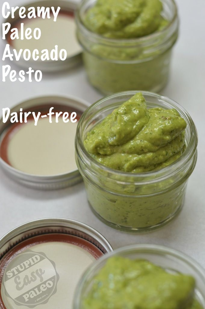 Creamy Paleo Avocado Pesto...perfect over zucchini noodles or eggs or served as a dip. Dairy-free! http://stupideasypaleo.com/2013/07/24/creamy-paleo-avocado-pesto/