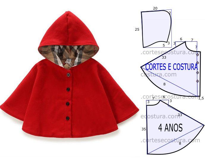 O molde do poncho para criança foi por mim testado e encontra-se no tamanho único. As medidas da ilustração do molde não têm valor de costura tem que...