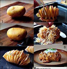 Spaltet eine große Kartoffel wie auf dem Bild. Anschließend füllt ihr in die Spalten jeweils abwechselnd ein Stück Butter und ein Stück Parmesan. Würzt die Kartoffeln mit ein wenig Salz und Pfeffer und tut ein paar Tropfen Olivenöl oben drauf. Und ab in den Ofen damit für etwa 45 Minuten bei 200 Grad bis die Karoffeln Goldbraun sind. Im Nächsten Schritt gießt ihr Schlagsahne über die Hasselbacks und bestreut sie mit Cheddar-Käse und es geht wieder für 10-15 Minuten in den Ofen.