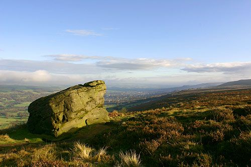 Ilkley Moor [the highest part of Rombalds Moor] in West Yorkshire, near the spa town of Ilkley, was the inspiration for the well-known Yorkshire song 'On Ilkla Moor Bah 'tat'. Apart from moorland hiking etc. there are prehistoric rock carvings in the neighbourhood.