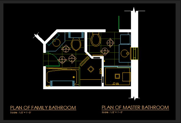 Computer Generated Plans of Adjacent Bathrooms in a home (Master Bathroom and Family Bathroom).