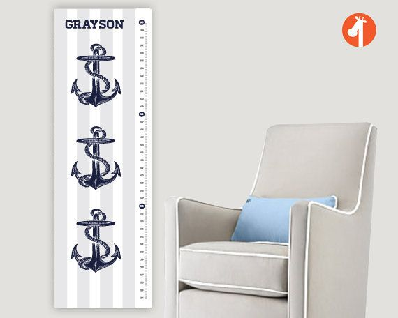 A #nautical inspired #growth #chart with #anchors designs is perfect for the parents who wants a #transitional #theme from childhood to boyhood without a complete room redecoration. With the #nautical theme, you can use #navy blues, reds and greens which are all #neutral #colors for #boys.