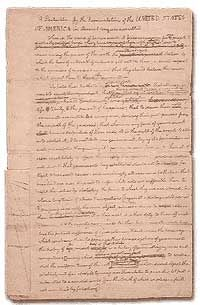 Draft copy of Declaration of Independence