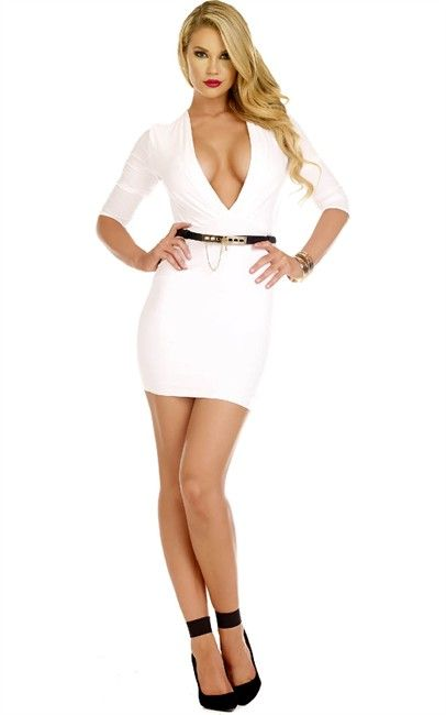Nzsale - Belted Mid Lenght Sleeve Bodycon Dress White