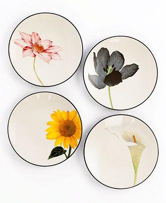 Noritake Dinnerware, Set of 4 Colorwave Graphite Floral Appetizer Plates - Casual Dinnerware - Dining & Entertaining - Macy's