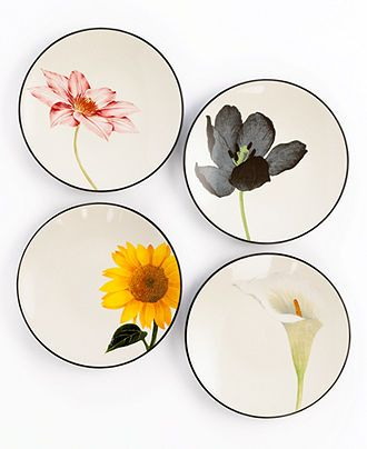 Noritake Dinnerware, Set of 4 Colorwave Graphite Floral Appetizer Plates - Casual Dinnerware - Dining & Entertaining - Macy's