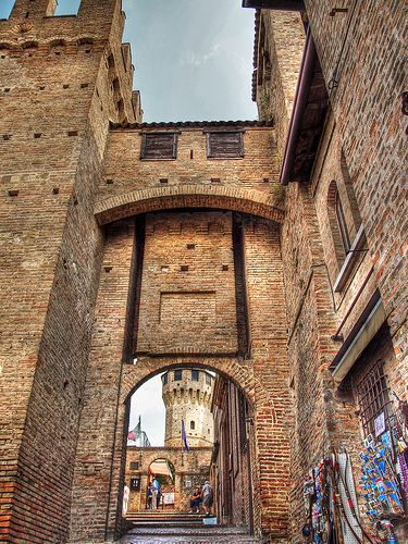 Entrance gate to the 12th century castle of Gradara,Italy