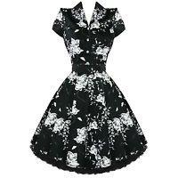 Ladies Black Floral Vintage 50s Retro Rockabilly Party Prom Swing Tea Dress UK