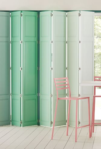 PEPPERMINT CRUSH | Along with Greek Dream, this approach to adding colour via window treatments is my favourite. I've been crushing (excuse the pun!) on ombre design treatments for several years, and this minty green folding shutter approach is colour perfection.
