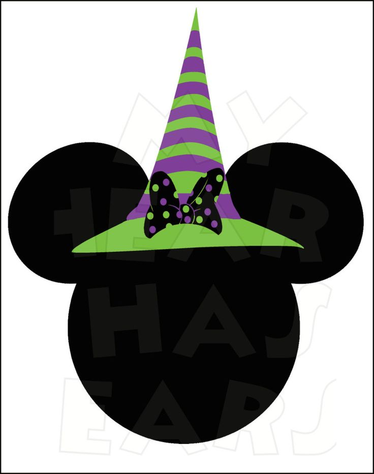 Minnie Mouse Witch INSTANT DOWNLOAD Halloween digital clip art Printable DIY iron on transfer for t-shirts by My Heart Has Ears