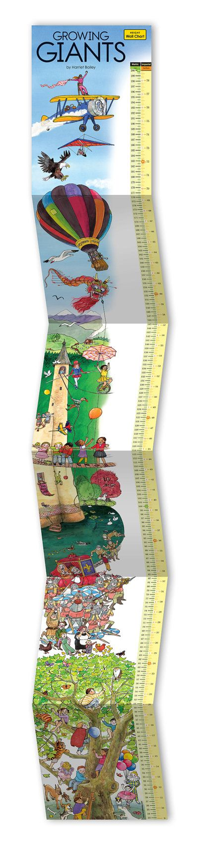 Record your growing giants against an imaginative backdrop of time and place. From the smallest to the tallest – where do you fit in? In this far away land where growing giants visit to be measured up, there's lots happening to generate questions, spark the imagination and create new stories! The children are brave and fearless, the grown-ups...not so much! This height chart with metric and imperial measurements can accommodate the whole family. Measures 22.5 cm to 2 meters (8.85 inches to…