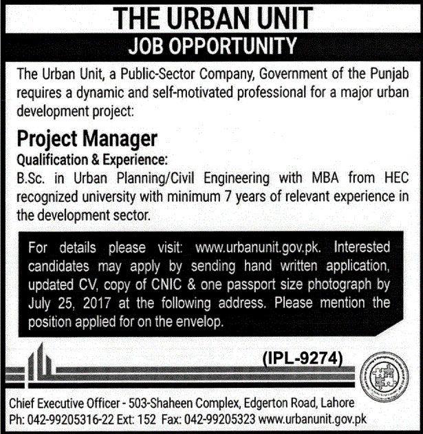 Project Management Unit Muzaffarabad Jobs Jobs In Pakistan - chief executive officer job description
