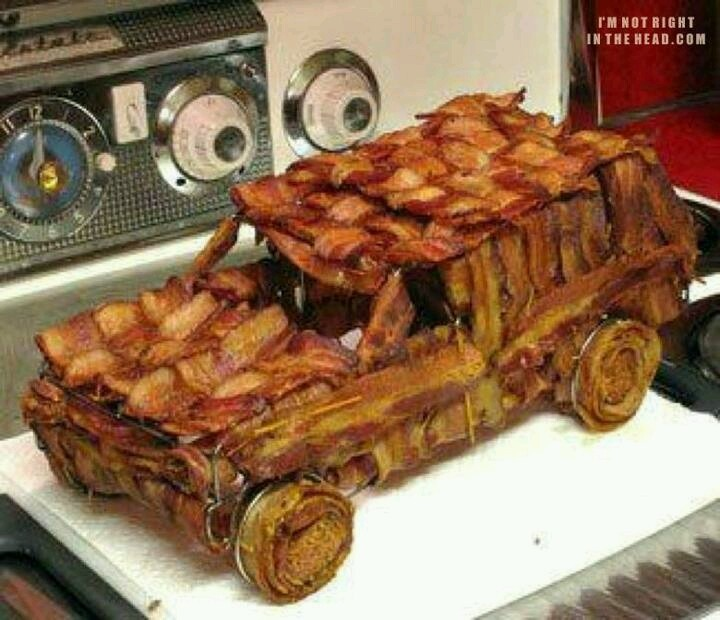 This could possibly be the first Land Rover vehicle made of bacon. #LandRover