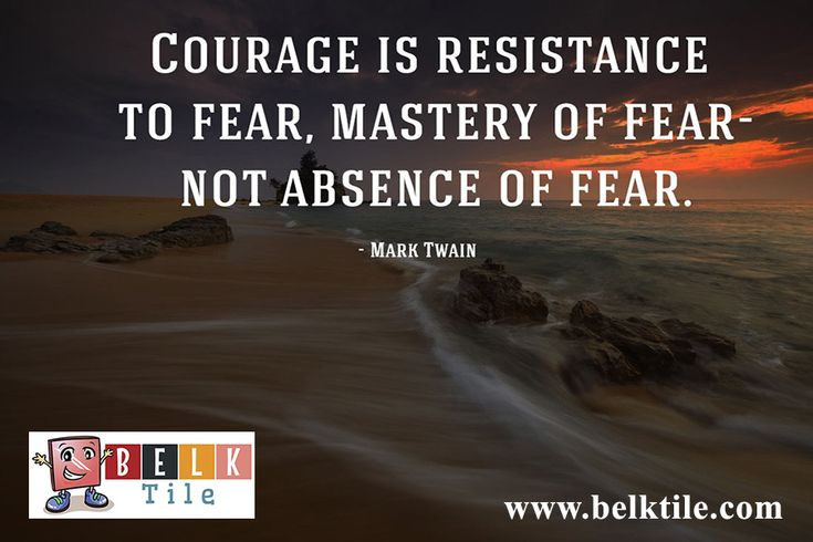 Monday Morning Motivation July 11, 2016, Courage is what it takes to overcome your fear! | BELK Tile