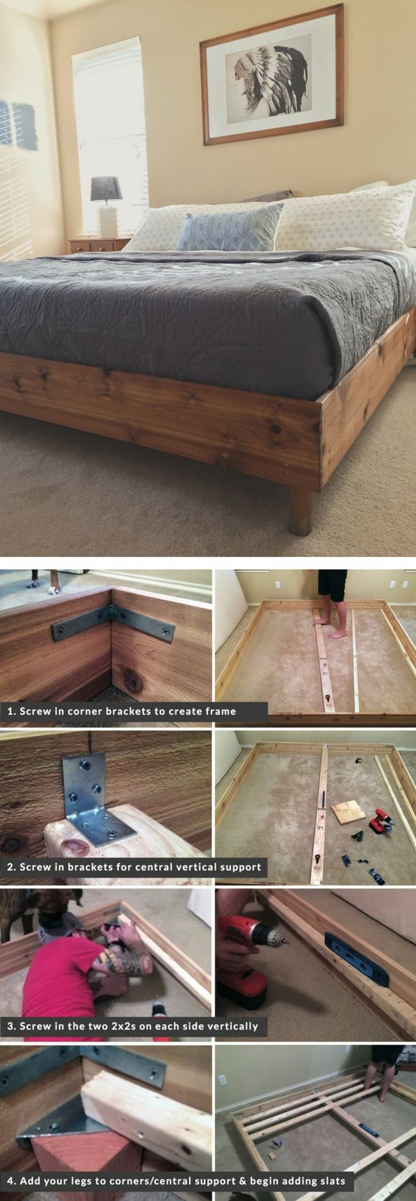Check out the tutorial on how to build a DIY king size bed @istandarddesign (Diy Storage Bedroom)